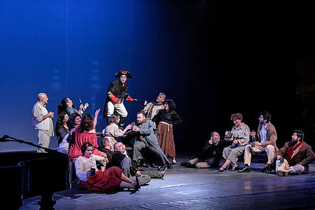 theatre, aysen, chorus, sitting, mid adult, medium group of people, young adult