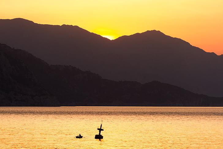 Mar, Alba, reflectint, sortida del sol sobre el mar, morgenstimmung, morgenrot, natura