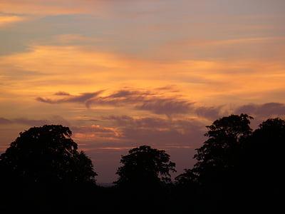 ηλιοβασίλεμα, φύση, βραδινό ουρανό, τοπίο, μεταλαμπή, Λυκόφως, abendstimmung
