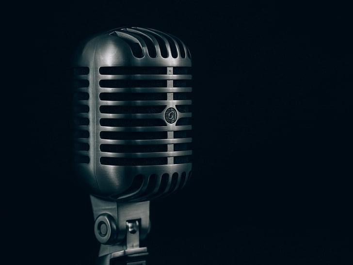 сірий, конденсації, мікрофон, музика, аудіо, метал, старомодний