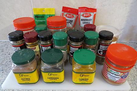 Začini, kurkuma, prah, curryja, curry, okusa, okusa