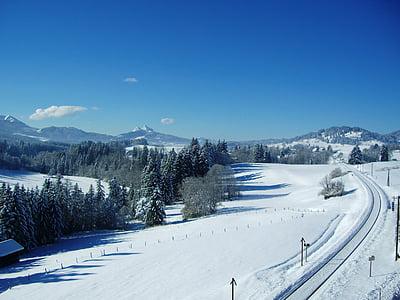 allgäu, winter, mountain panorama, new zealand, railway, railway line, railroad track