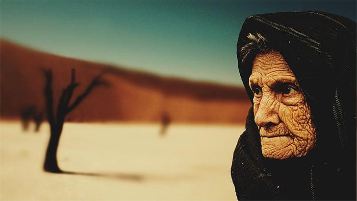 Stara žena, pustinja, Starost, beduin, suha, Stari, ljudi
