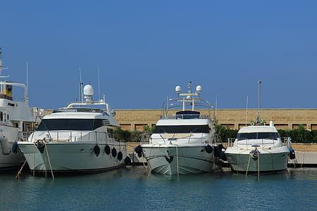 Yacht, hamn, Yachts, båtar, vatten, havet, Anchorage