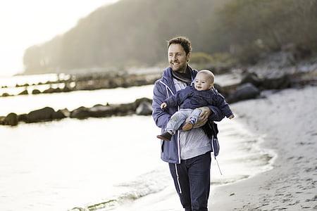 dad, boy, beach, walk, love, family, child