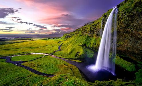 Island, vodopád, vodopády, hory, Západ slunce, soumraku, obloha