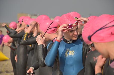 cursa, concurs, începe, triatlon, înotători, înot, apa