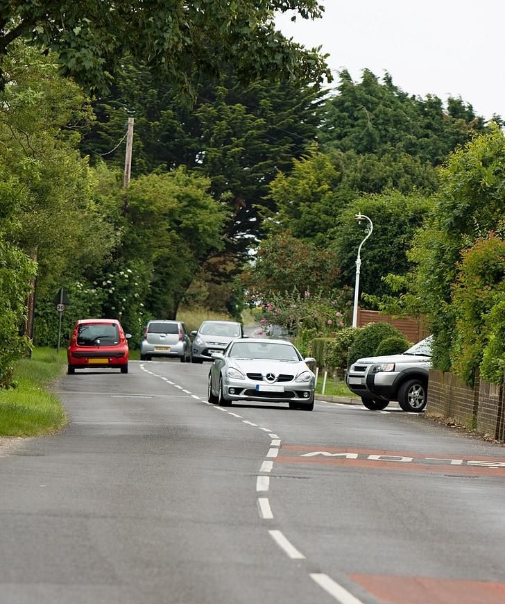 car, cars, road, lane, traffic, countryside, country lane
