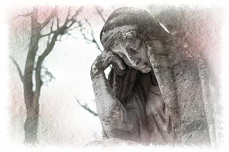 mujer, escultura, figura de piedra, estatua de, Cementerio, de luto, arte