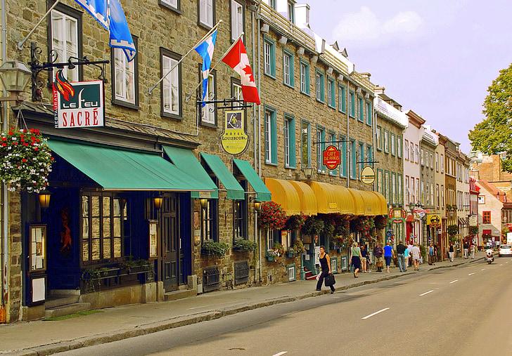 Canadà, Québec, quebec vell, ciutat baixa, carrer gran, carrer, arquitectura