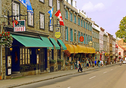 canada, quebec, old quebec, lower town, grand street, street, architecture