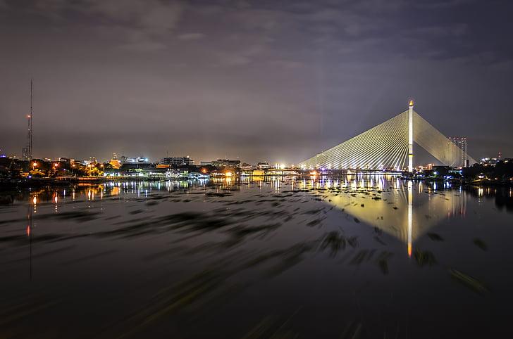 bangkok, bridge, river, night, city, thai, asia