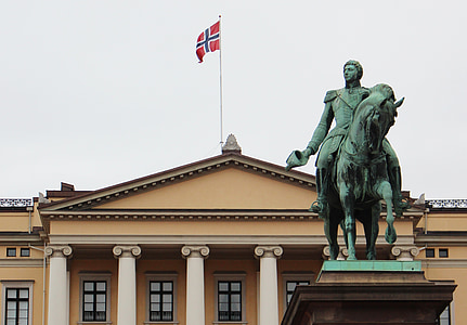Oslo, Norge, staden, byggnad, Slottsparken, konunghuset, Scandinavia