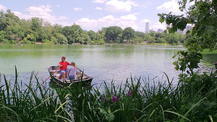 romantiska, båt, båtliv, Park, new york