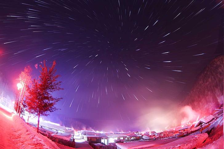 le paysage, vue de nuit, neige