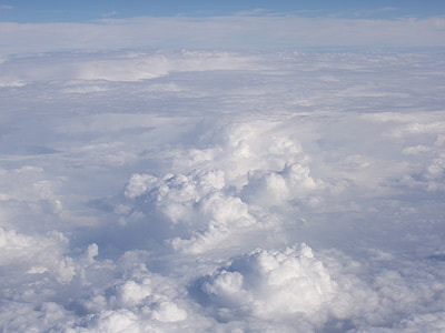 modra, nebo, oblaki, na prostem, scensko, mirno, stratosferi