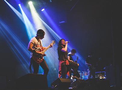rock, band, stage, spot, lights, people, men