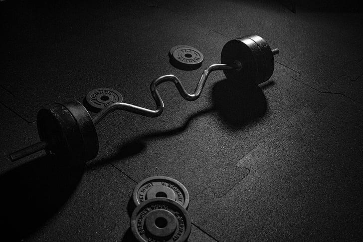 Manual, sport, vekter, treningsrom, styrketrening, Fitness utstyr, treningsstudio