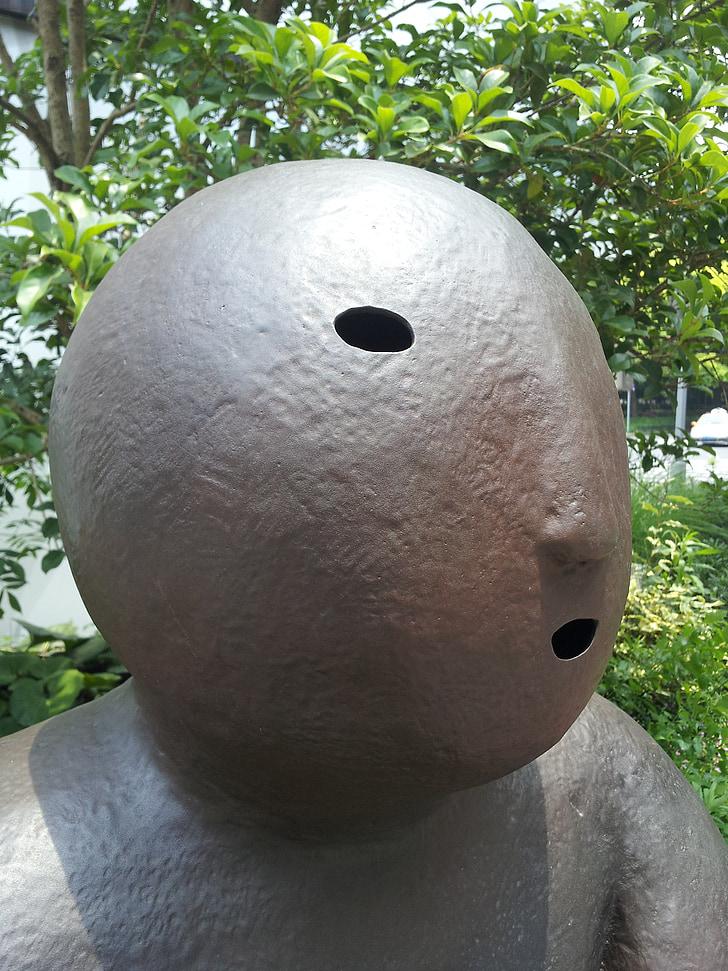 sculpture, iron, artwork, figure, metal, head, figures