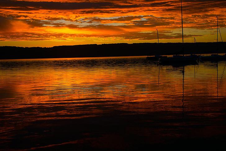 salida del sol, agua, Ammersee, naturaleza, Lago, Estado de ánimo, cielo