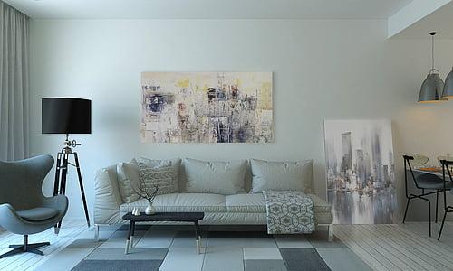 sofà, mobles, l'interior, disseny d'interiors, Làmpada, sala d'estar, sofà