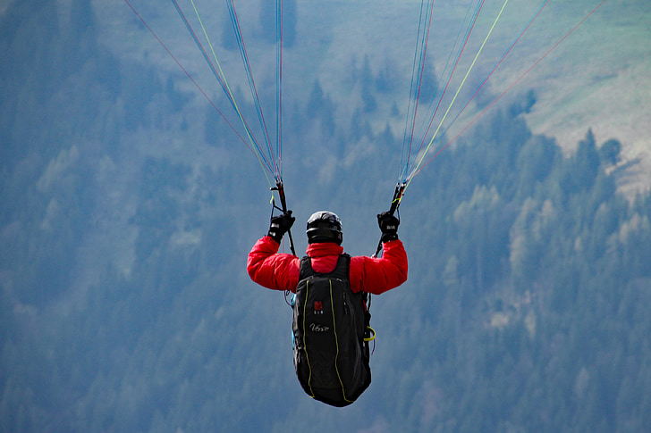 paraglider, mountains, fly, paragliding, alpine, hobby, leisure