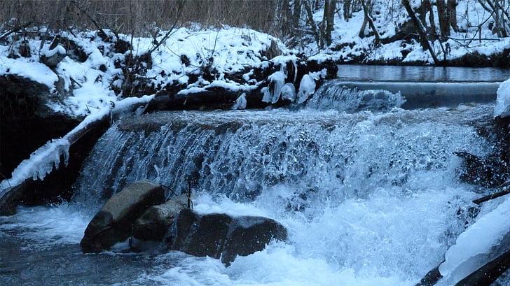 riu, cascada, actual, natura, l'hivern