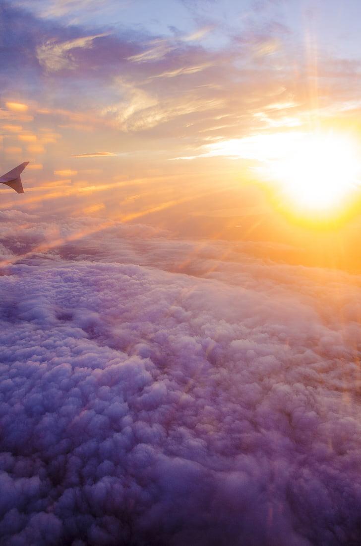fotografie, soare, nori, nor, cer, apus de soare, nor - cer