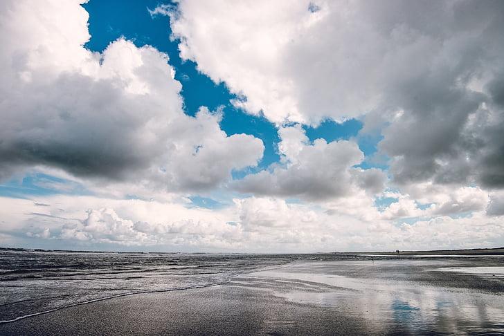 céu dramático, praia, Costa, natureza, nuvem - céu, céu, azul