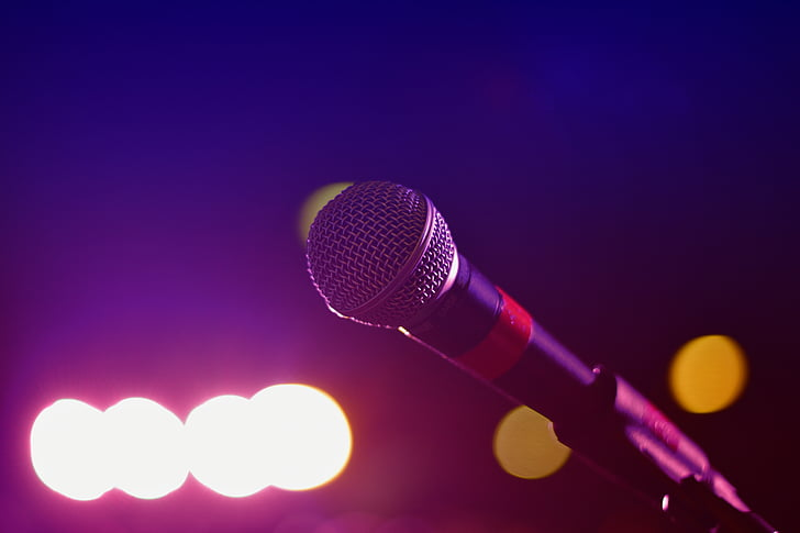 audio, bokeh, bright, close-up, karaoke, lights, mic