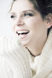Krása, úsměv, Veselé, Žena, mladý, portrét, Žena