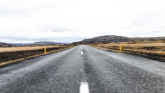 grigio, bianco, In alto, strada, giorno, montagna, autostrada