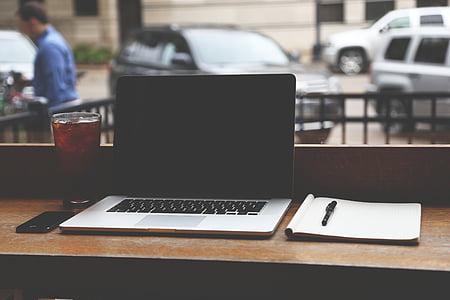แอปเปิ้ล, ร้านกาแฟ, คอมพิวเตอร์, แล็ปท็อป, macbook pro, mockup, โน๊ตบุ๊ค