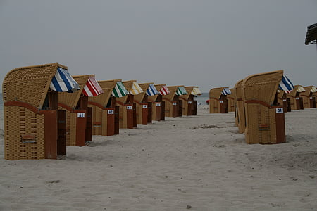 scaun de plaja, plajă, nisip, plaja cu nisip, cluburi, protecție împotriva vântului, Marea Baltică