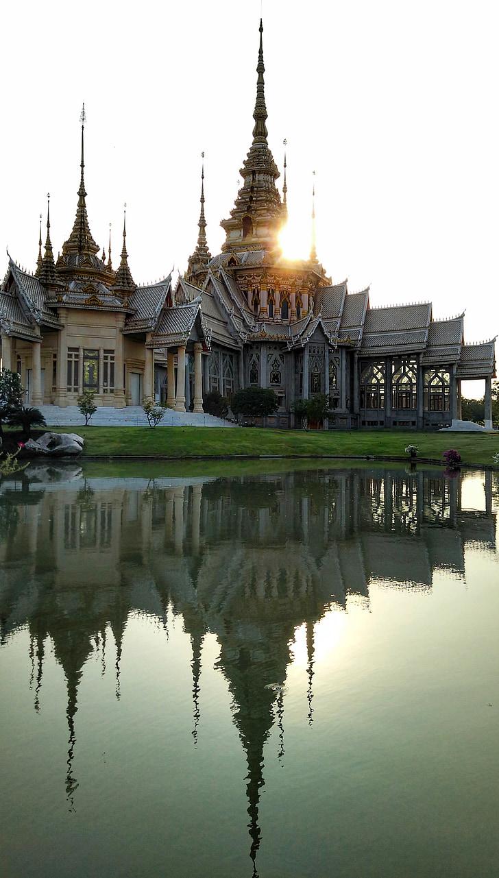 Temple, budista, posta de sol, reflexió, korat, Tailàndia, arquitectura