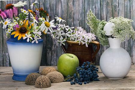 bodegons, flors, gerros, Gerro, Poma, decoració, flor