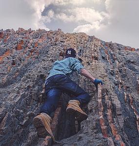 people, man, guy, climbing, mountain, hill, rocks