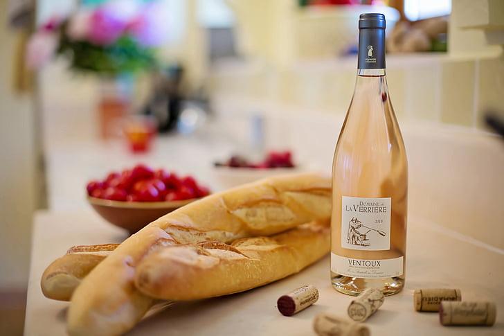 roosa vein, Baguettid, Prantsuse, Prantsusmaa, veini, leib, toidu