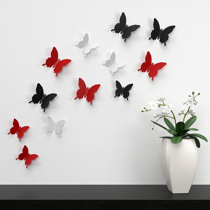 papallona, paret, decoració, color, decoració de document, colors, plaer