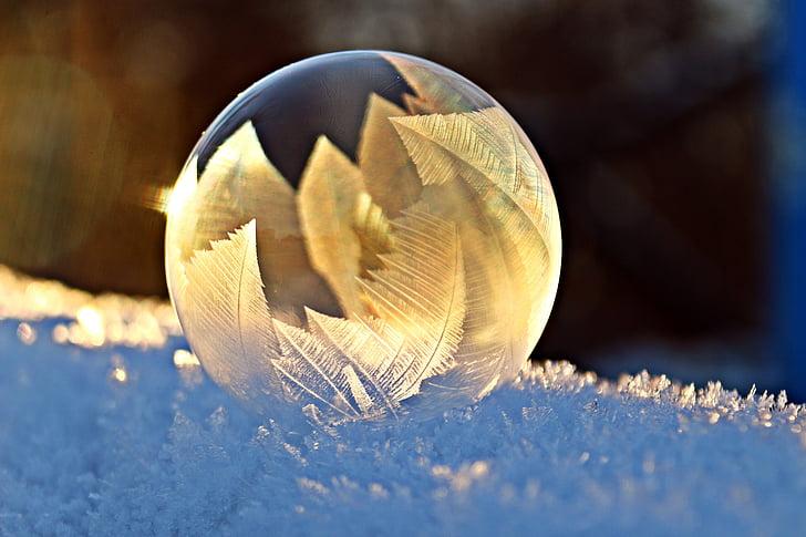 bombolla de sabó, gelades, neu, bombolla, eiskristalle, l'hivern, fred