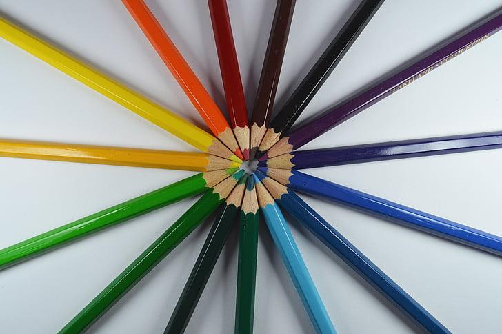 konst, färgglada, färg, färgglada, färger, kritor, kreativitet