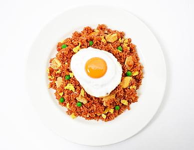 Nasi goreng, arròs fregit, ou fregit, aliments, esquena blanca, plat, àpat