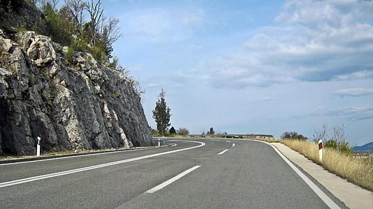 carretera de muntanya, muntanyes, muntanya, paisatge, pedra, roques, rocós camí