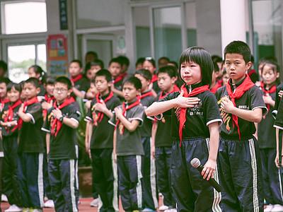 pupils, school, children, red scarf, queue