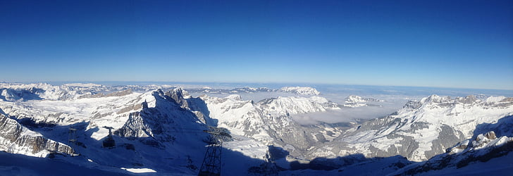 bjergpanorama, vinter, Outlook, Schweiz, Titlis, Glacier, sne