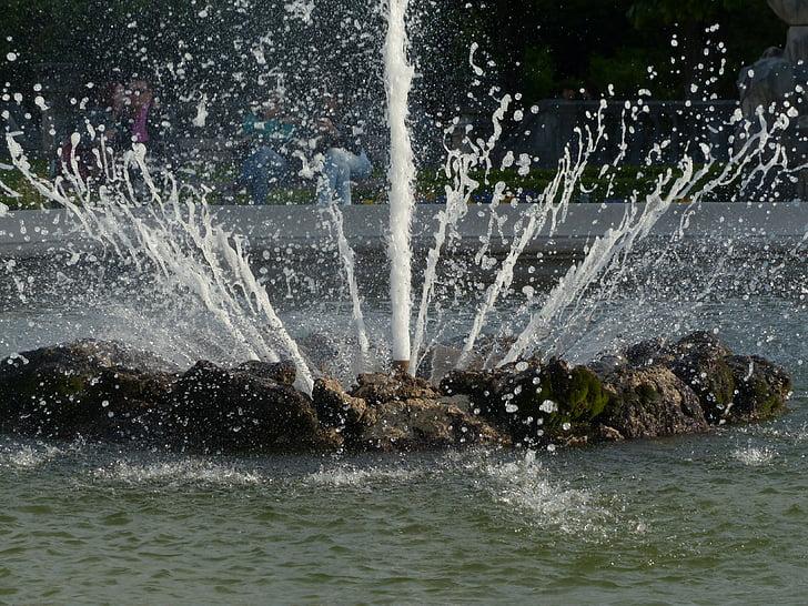 eau, injecter, Fontaine, jardins de Mirabell, Salzbourg, éclaboussures, pulvérisation