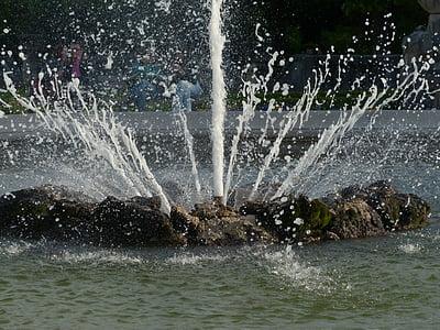 víz, Fecskendezzünk be, szökőkút, Mirabell-kert, Salzburg, fröccsenő, permetezés