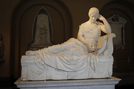 skulptur, staty, romerska, Stenskulptur, gudinnan, utställning, museet