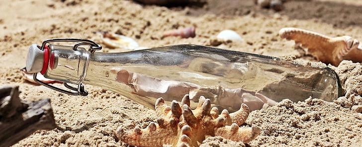 message in a bottle, bottle, post, beach, sand, glass bottle, letters