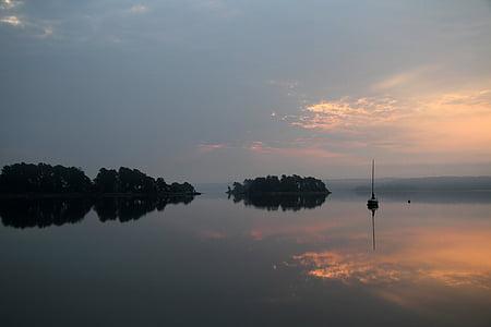 озеро, Himmel, рожевий, Хмара, човни, до цих пір, Мряка